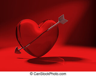 glass heart and cupid arrow on red - 3d heart made of glass...