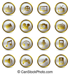 Multimedia gold icons set - Illustration vector