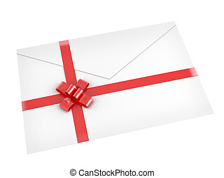 letter with red ribbon isolated on white