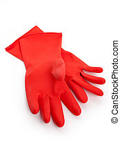 Red Rubber Glove with white background