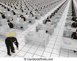 concept for office slaves - Conceptual image showing a grid...