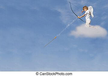 cupid firing arrow from cloud for valentines day