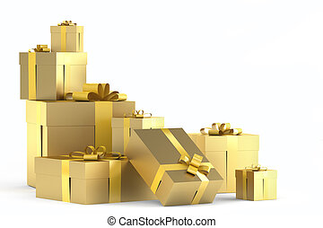 pile of golden gifts