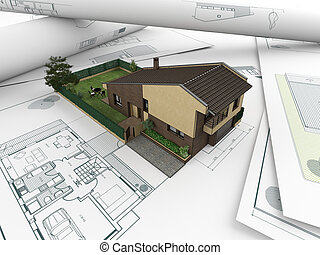 architectural drawings and house_2 - 3d house model emerging...