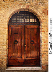 Ancient Brown Doorway Medieval Stone Town San Gimignano...