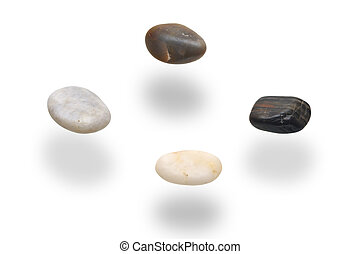 levitation stones over white
