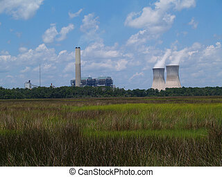 Nuclear Power Plant Next to a Flori - Nuclear power plant...