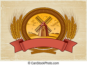 Cereal harvest label in woodcut style Vector illustration