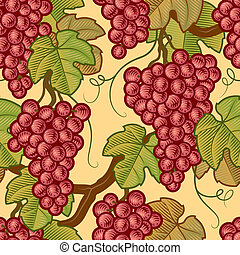 Seamless grapes background in woodcut style. Vector...