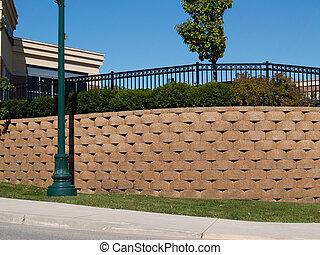 Large Retaining Wall - Large retaining wall with a black...