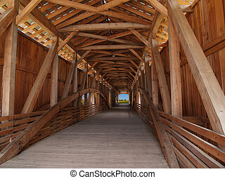 Wooden Beams Inside Covered Bridge - Wooden beams inside of...