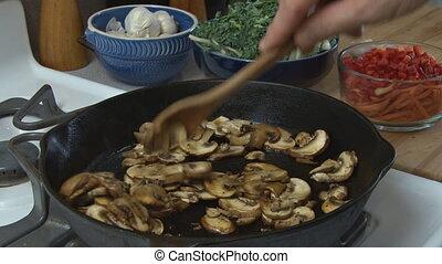 Cooking mushrooms 2 - Preparing food - cooking sliced...
