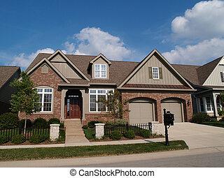 Mały, dom, Z, podwójny, garaż