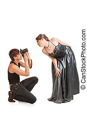 Young adult female model and photographer - Young adult...