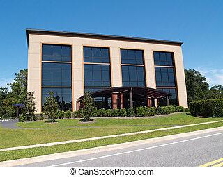 3, historia, oficina, edificio, con, vidrio