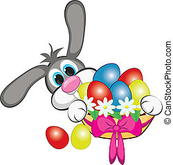 Bunny With Easter Eggs And Basket. Illustration on white