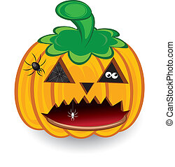 Halloween pumpkin isolated on a white background for design