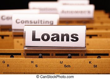 loan application in business folder showing financial...