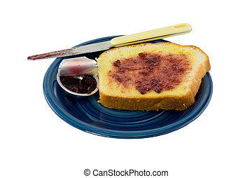 toast with jelly on white