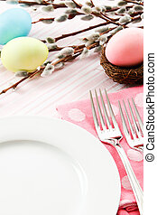 Festive Easter Table Setting - A festive pastel pink table...