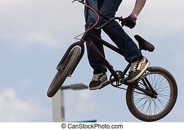 BMX biker Airborne - A BMX Bicycle Moto-crossX in the air...