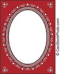 Vector Valentine Frame or Tag - Vector of red, black and...