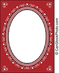 Valentine Frame or Tag With Gingham - Red, black and white...