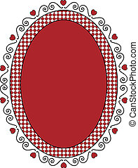 Oval Valentine Frame or Tag With Gi - Oval Valentine frame...