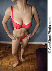 Sexy part of woman in red underwear