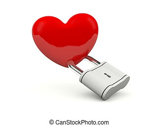 Heart with padlock isolated on white