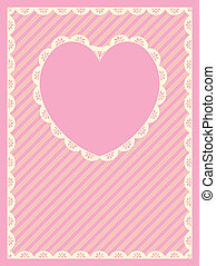 Vector Striped Heart Eyelet Trim - Vector in pink, gold and...
