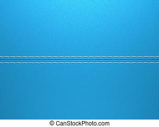 Blue horizontal stitched leather background. Large...