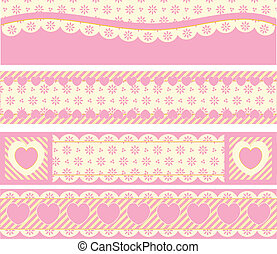 Borders With Victorian Eyelet Heart - Four borders with...