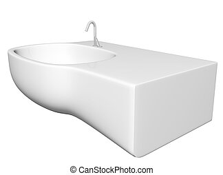 Modern washbasin or sink with faucet and plumbing fixtures,...