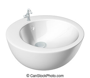 Modern round washbasin or sink, cream colored, isolated...