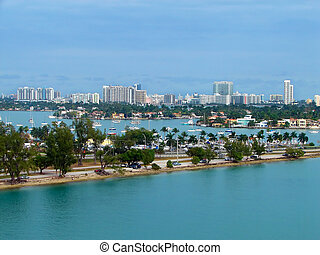 Eagle eye view of Miami port - Eagle eye view of Miami's...