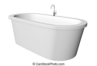 White and deep modern white bathtub with stainless steel...