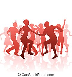 Disco - Editable vector silhouettes of people dancing at a...