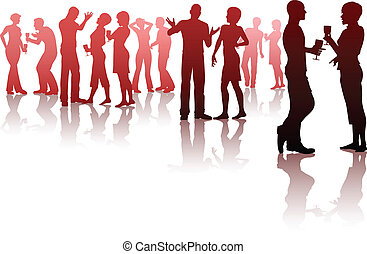 Party - Editable vector silhouettes of people socializing at...