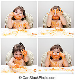 Happy baby funny messy eater - Happy baby having fun eating...