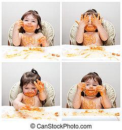 lycklig, baby, rolig, rörig, person som äter