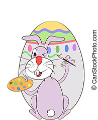 easter rabbit painting the egg