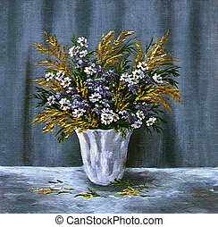 Wild flowers in a white vase - Picture oil paints on a...