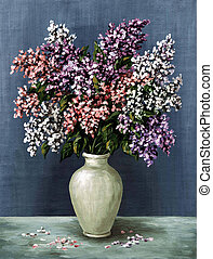 Lilac in a white amphora - Picture oil paints on a canvas: a...