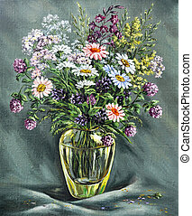 Glass vase with wild flowers - Picture oil paints on a...