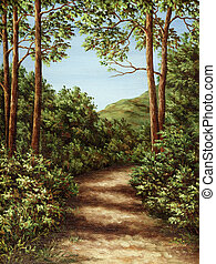 Footpath in mountain wood - Picture oil paints on a canvas:...