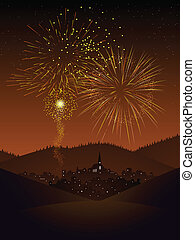 Fireworks over a village - Fireworks display over a secluded...