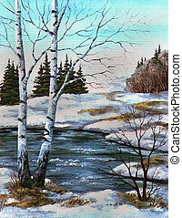 Two birches at the river, spring - Picture oil paints on a...