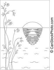 Sun, plant and sea, contour