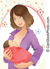 Breast feeding woman - A vector illustration of a woman...